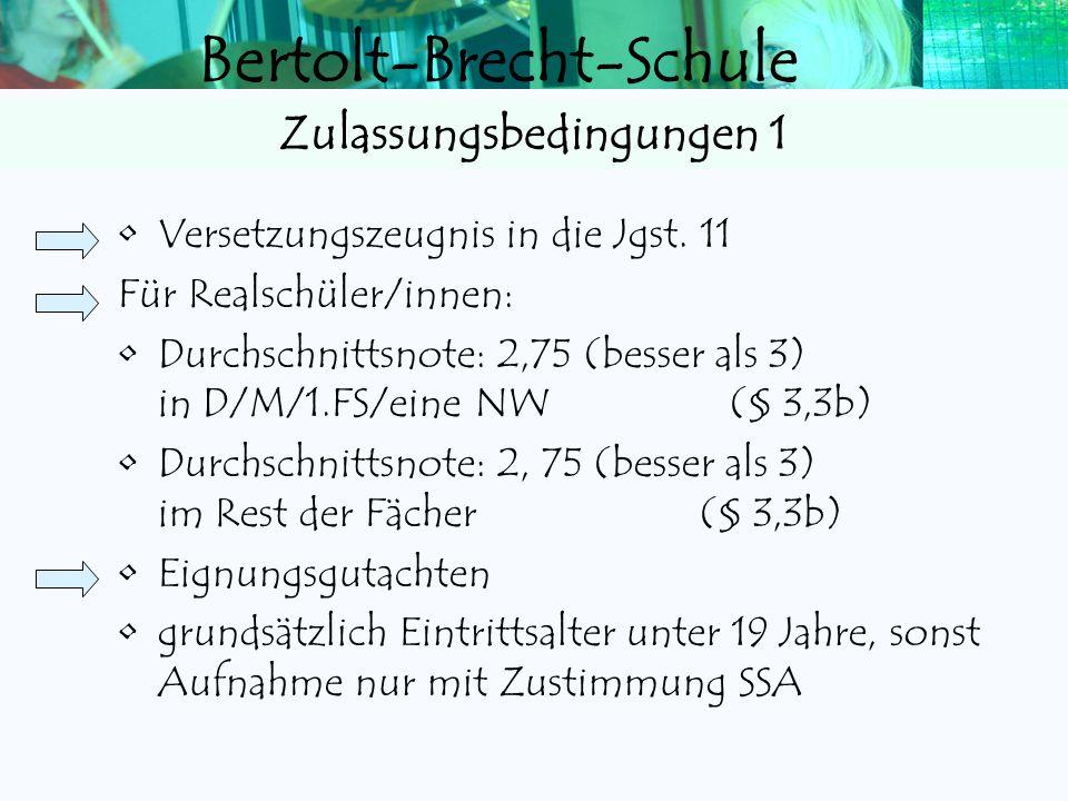 Bertolt-Brecht-Schule Abitur Abitur 1.Leistungskurse (8) 2.Grundkurse (24) 3.Prüfung (in 5 Prüfungsfächern, davon 3 schriftlich) Fachhochschulreife (F