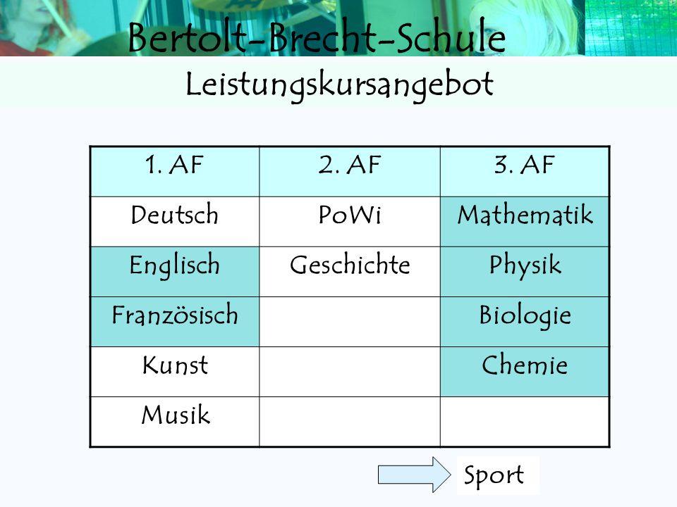 Bertolt-Brecht-Schule 1.AF2. AF3. AF DeutschPolitik /WirtschaftMathematik 1. Fremdspr.GeschichteBiologie 2. Fremdspr.Religion/EthikChemie 3. Fremdspr.