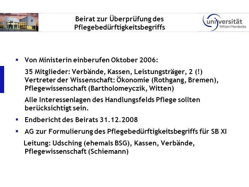 Beirat zur Überprüfung des Pflegebedürftigkeitsbegriffs Von Ministerin einberufen Oktober 2006: 35 Mitglieder: Verbände, Kassen, Leistungsträger, 2 (!