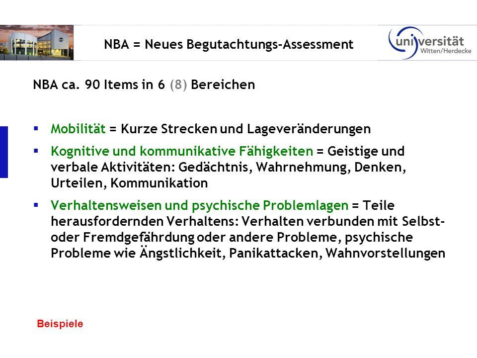 NBA = Neues Begutachtungs-Assessment NBA ca. 90 Items in 6 (8) Bereichen Mobilität = Kurze Strecken und Lageveränderungen Kognitive und kommunikative