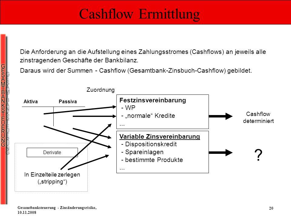 20 Gesamtbanksteuerung - Zinsänderungsrisiko, 10.11.2008 Cashflow Ermittlung Die Anforderung an die Aufstellung eines Zahlungsstromes (Cashflows) an j