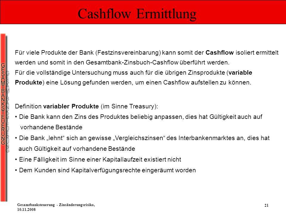 21 Gesamtbanksteuerung - Zinsänderungsrisiko, 10.11.2008 Cashflow Ermittlung Definition variabler Produkte (im Sinne Treasury): Die Bank kann den Zins
