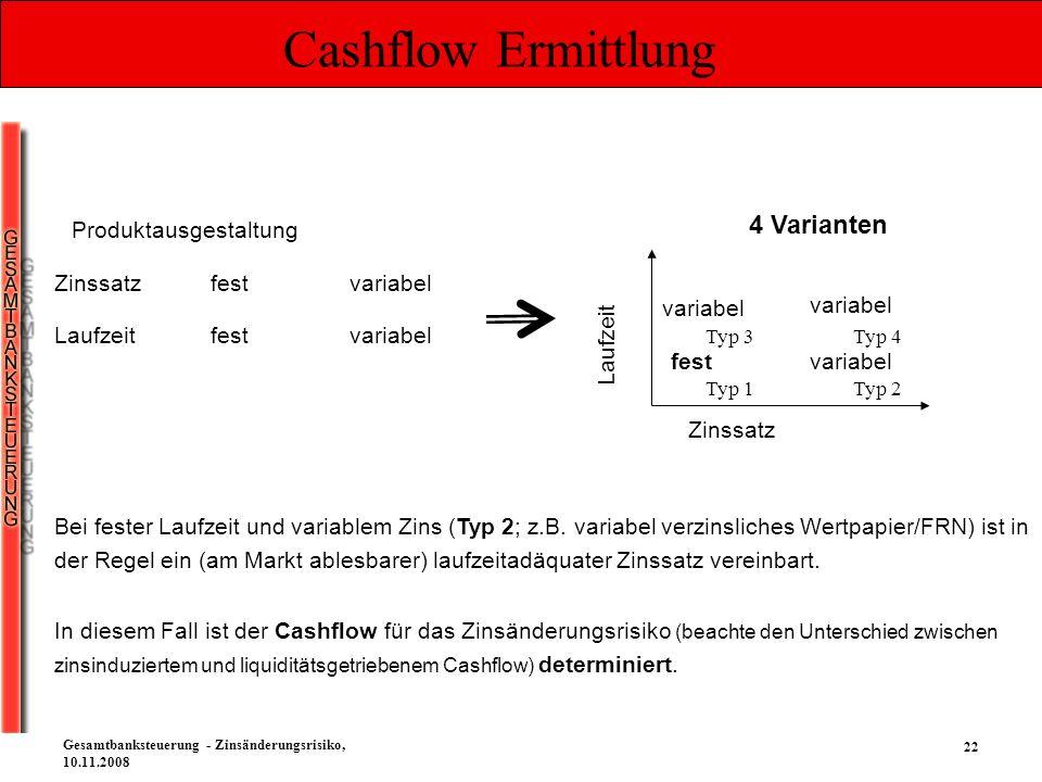 22 Gesamtbanksteuerung - Zinsänderungsrisiko, 10.11.2008 Cashflow Ermittlung Bei fester Laufzeit und variablem Zins (Typ 2; z.B. variabel verzinsliche