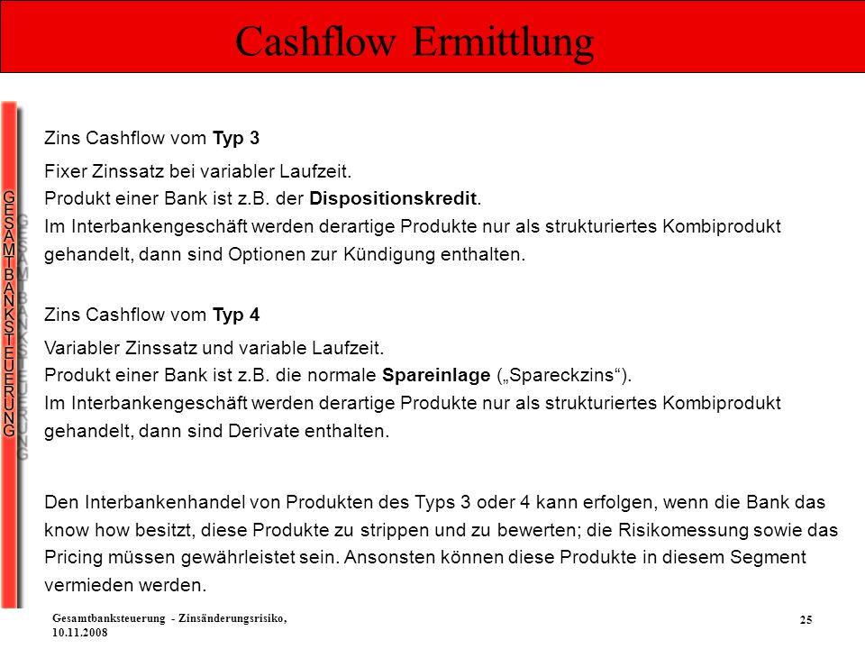 25 Gesamtbanksteuerung - Zinsänderungsrisiko, 10.11.2008 Cashflow Ermittlung Zins Cashflow vom Typ 3 Fixer Zinssatz bei variabler Laufzeit. Produkt ei