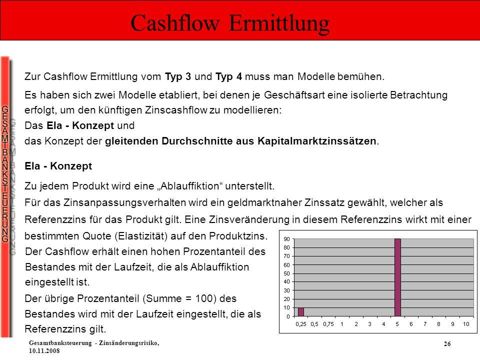 26 Gesamtbanksteuerung - Zinsänderungsrisiko, 10.11.2008 Cashflow Ermittlung Zur Cashflow Ermittlung vom Typ 3 und Typ 4 muss man Modelle bemühen. Es