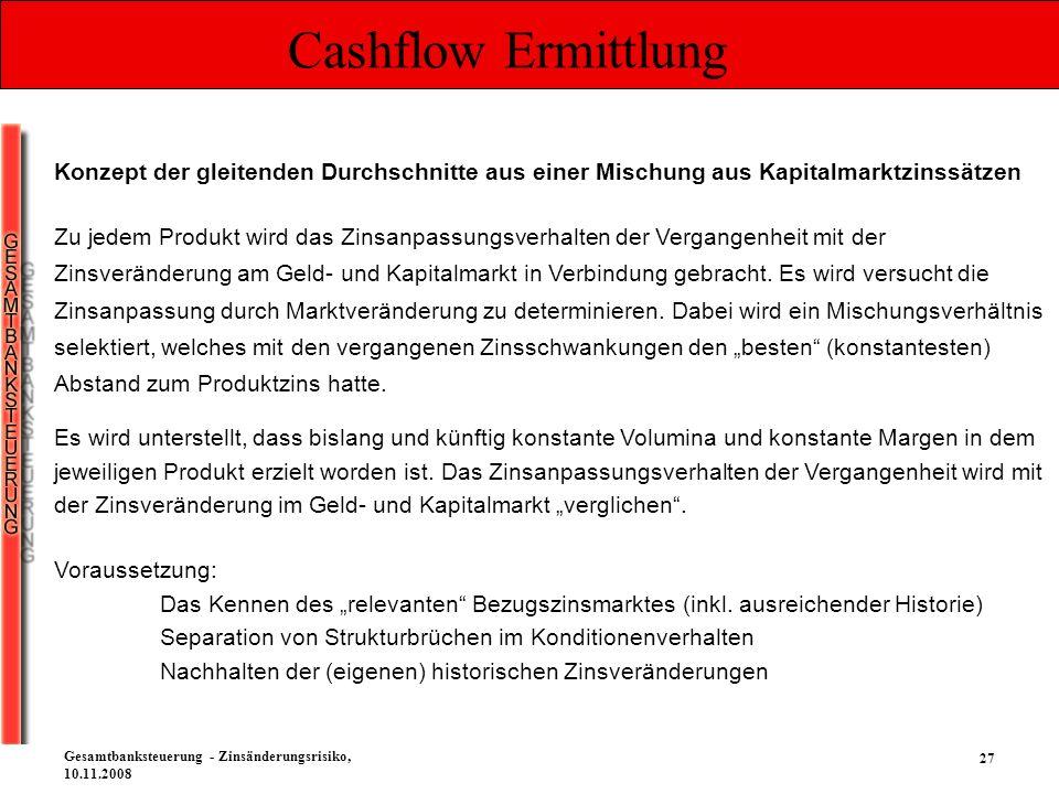 27 Gesamtbanksteuerung - Zinsänderungsrisiko, 10.11.2008 Cashflow Ermittlung Es wird unterstellt, dass bislang und künftig konstante Volumina und kons