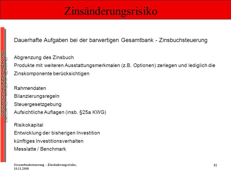 52 Gesamtbanksteuerung - Zinsänderungsrisiko, 10.11.2008 Zinsänderungsrisiko Dauerhafte Aufgaben bei der barwertigen Gesamtbank - Zinsbuchsteuerung Ab