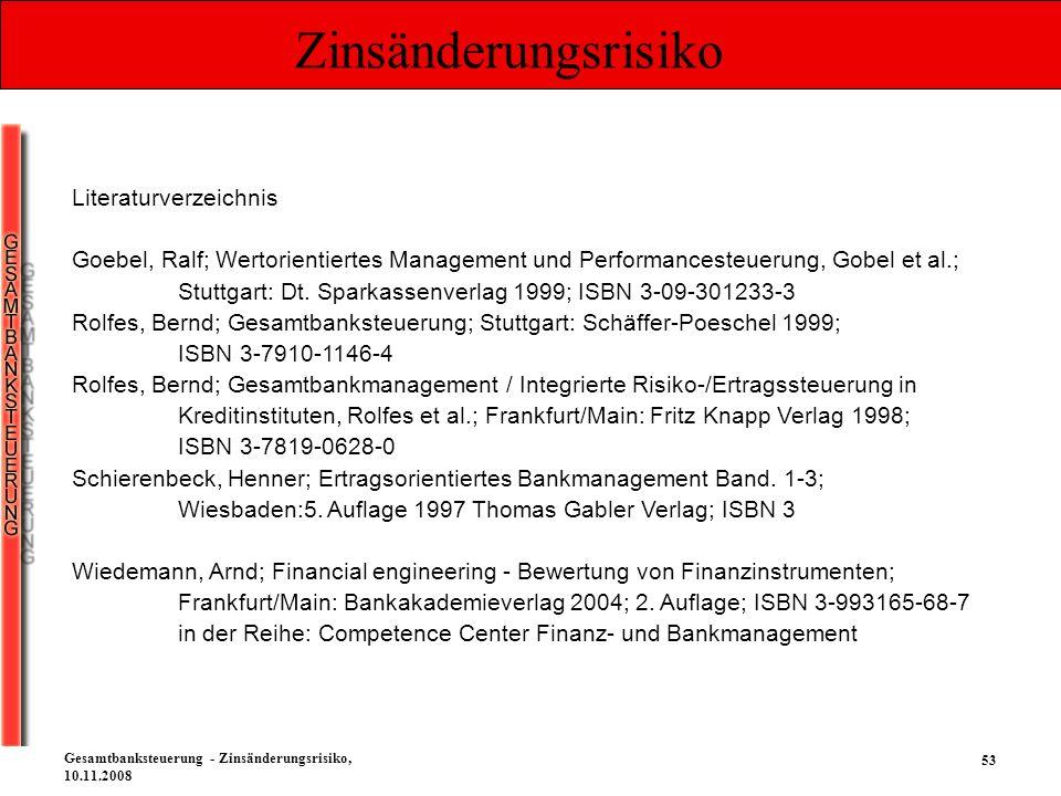 53 Gesamtbanksteuerung - Zinsänderungsrisiko, 10.11.2008 Zinsänderungsrisiko Literaturverzeichnis Goebel, Ralf; Wertorientiertes Management und Perfor