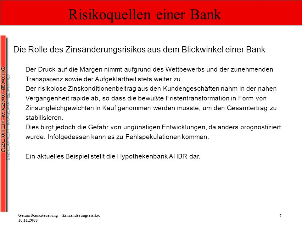 7 Gesamtbanksteuerung - Zinsänderungsrisiko, 10.11.2008 Risikoquellen einer Bank Die Rolle des Zinsänderungsrisikos aus dem Blickwinkel einer Bank Der