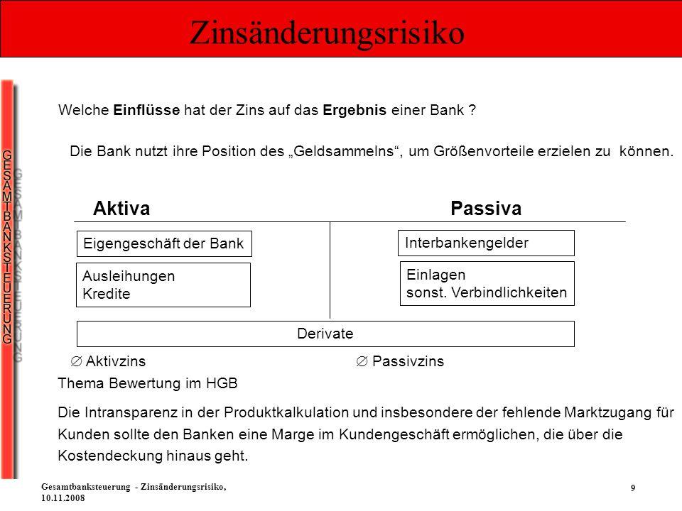 50 Gesamtbanksteuerung - Zinsänderungsrisiko, 10.11.2008 Zinsänderungsrisiko Mögliche Störfaktoren bei der barwertigen Gesamtbank - Zinsbuchsteuerung Die Annahmen in den Modellen treffen nicht (mehr) zu.