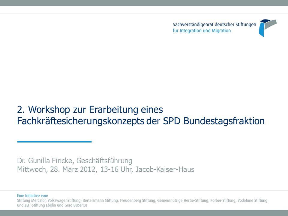 2. Workshop zur Erarbeitung eines Fachkräftesicherungskonzepts der SPD Bundestagsfraktion Dr. Gunilla Fincke, Geschäftsführung Mittwoch, 28. März 2012