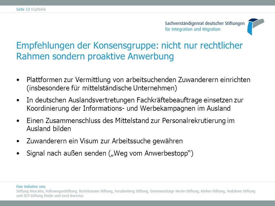 Empfehlungen der Konsensgruppe: nicht nur rechtlicher Rahmen sondern proaktive Anwerbung Plattformen zur Vermittlung von arbeitsuchenden Zuwanderern e