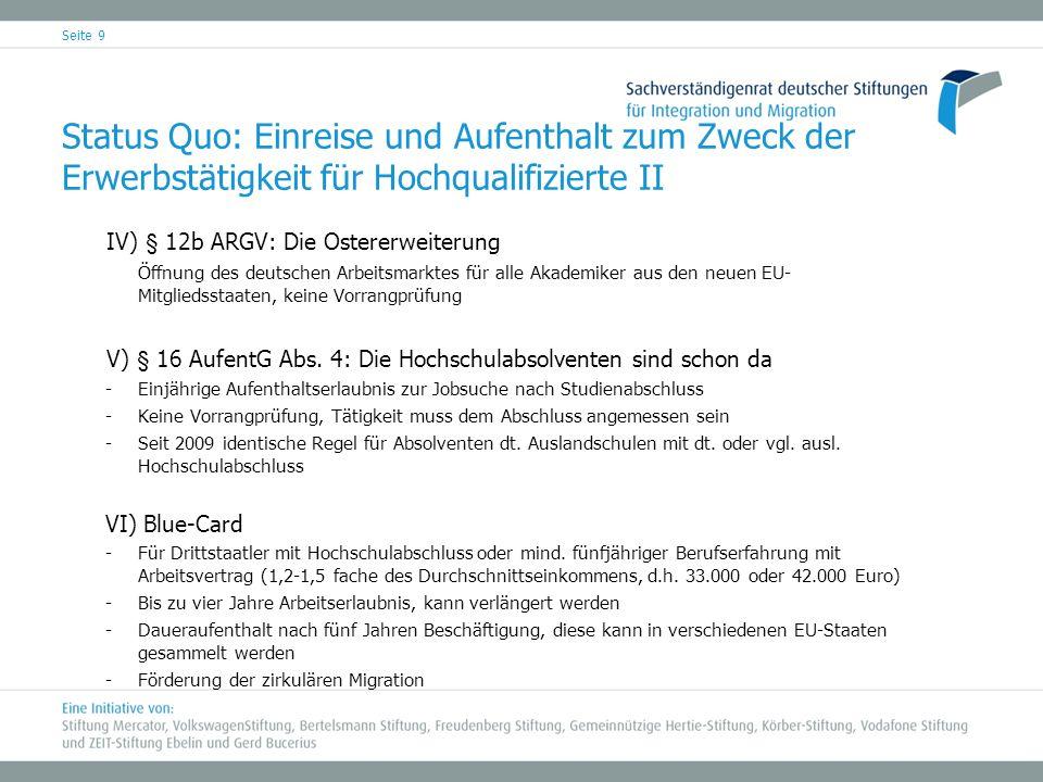 Seite 9 Status Quo: Einreise und Aufenthalt zum Zweck der Erwerbstätigkeit für Hochqualifizierte II IV) § 12b ARGV: Die Ostererweiterung Öffnung des d