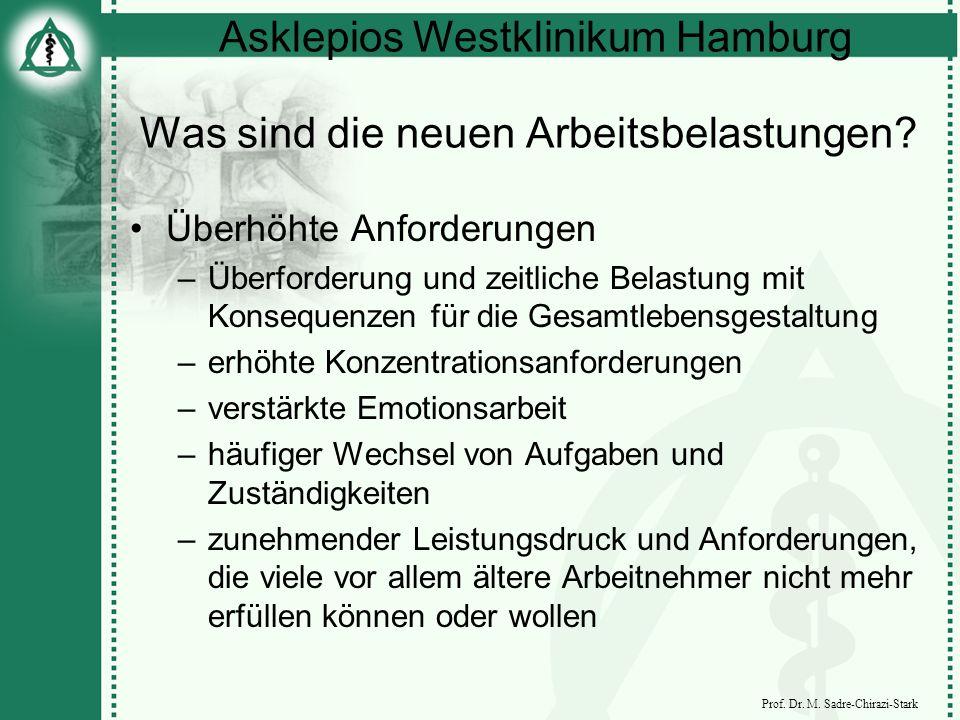 Asklepios Westklinikum Hamburg Prof. Dr. M. Sadre-Chirazi-Stark Was sind die neuen Arbeitsbelastungen? Überhöhte Anforderungen –Überforderung und zeit