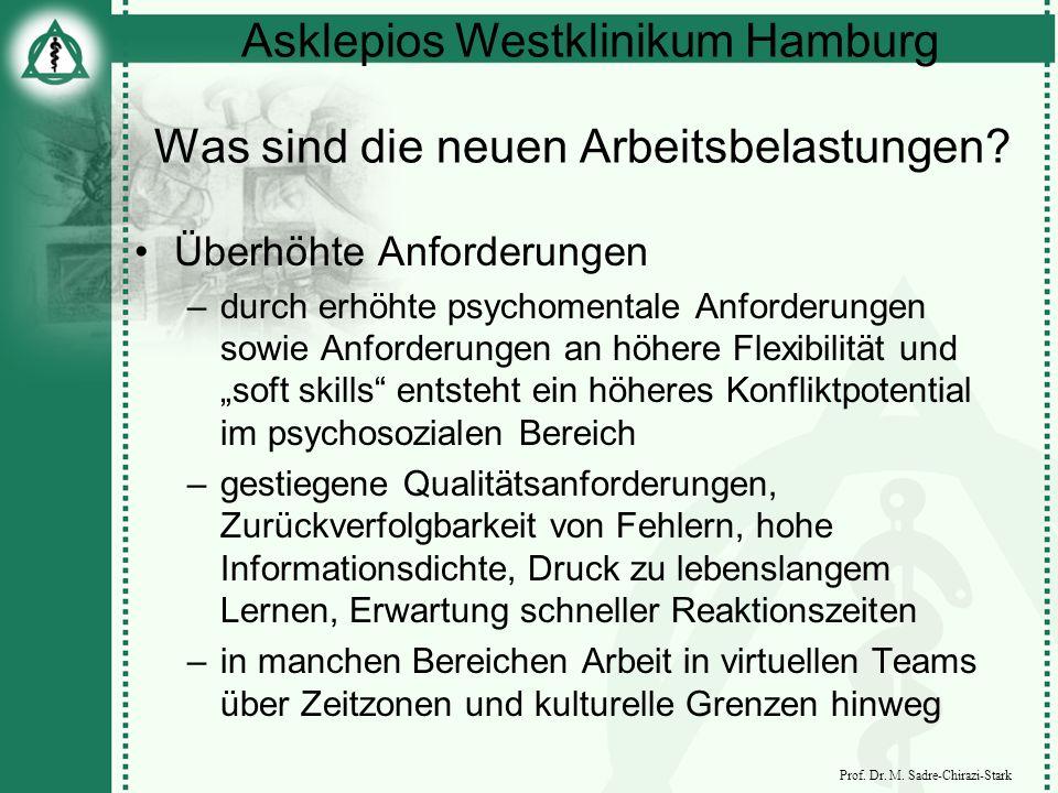 Asklepios Westklinikum Hamburg Prof. Dr. M. Sadre-Chirazi-Stark Was sind die neuen Arbeitsbelastungen? Überhöhte Anforderungen –durch erhöhte psychome
