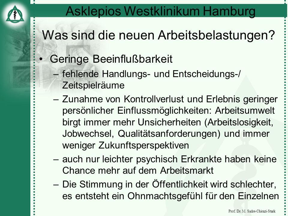 Asklepios Westklinikum Hamburg Prof. Dr. M. Sadre-Chirazi-Stark Was sind die neuen Arbeitsbelastungen? Geringe Beeinflußbarkeit –fehlende Handlungs- u