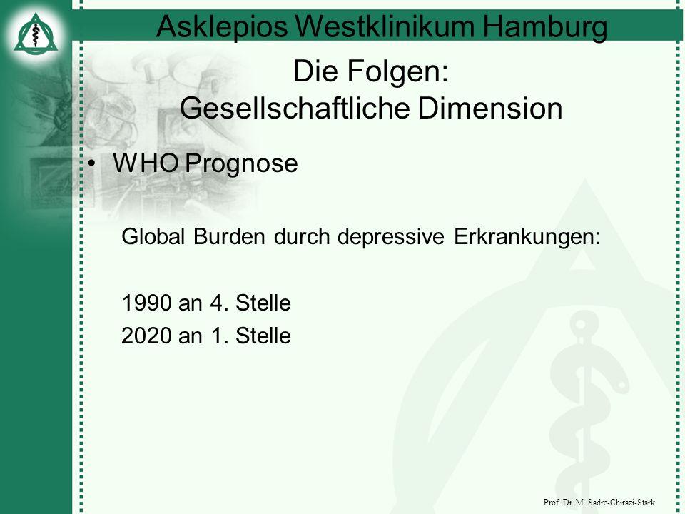 Asklepios Westklinikum Hamburg Prof. Dr. M. Sadre-Chirazi-Stark Die Folgen: Gesellschaftliche Dimension WHO Prognose Global Burden durch depressive Er