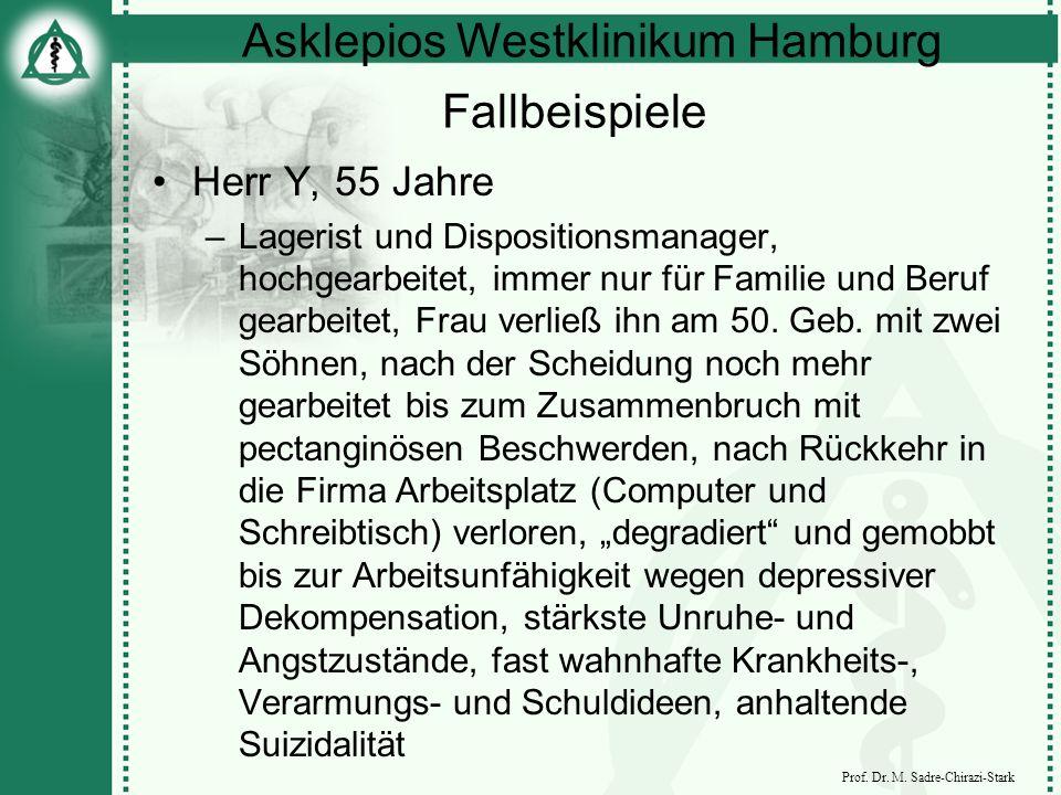 Asklepios Westklinikum Hamburg Prof. Dr. M. Sadre-Chirazi-Stark Fallbeispiele Herr Y, 55 Jahre –Lagerist und Dispositionsmanager, hochgearbeitet, imme