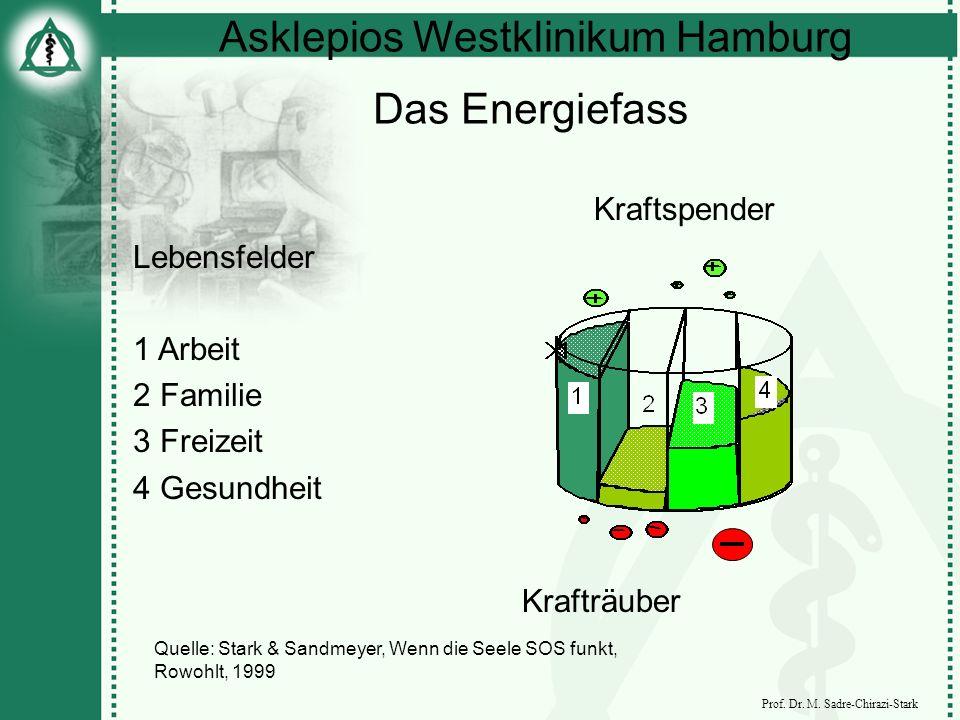 Asklepios Westklinikum Hamburg Prof. Dr. M. Sadre-Chirazi-Stark Das Energiefass Lebensfelder 1 Arbeit 2 Familie 3 Freizeit 4 Gesundheit Kraftspender K
