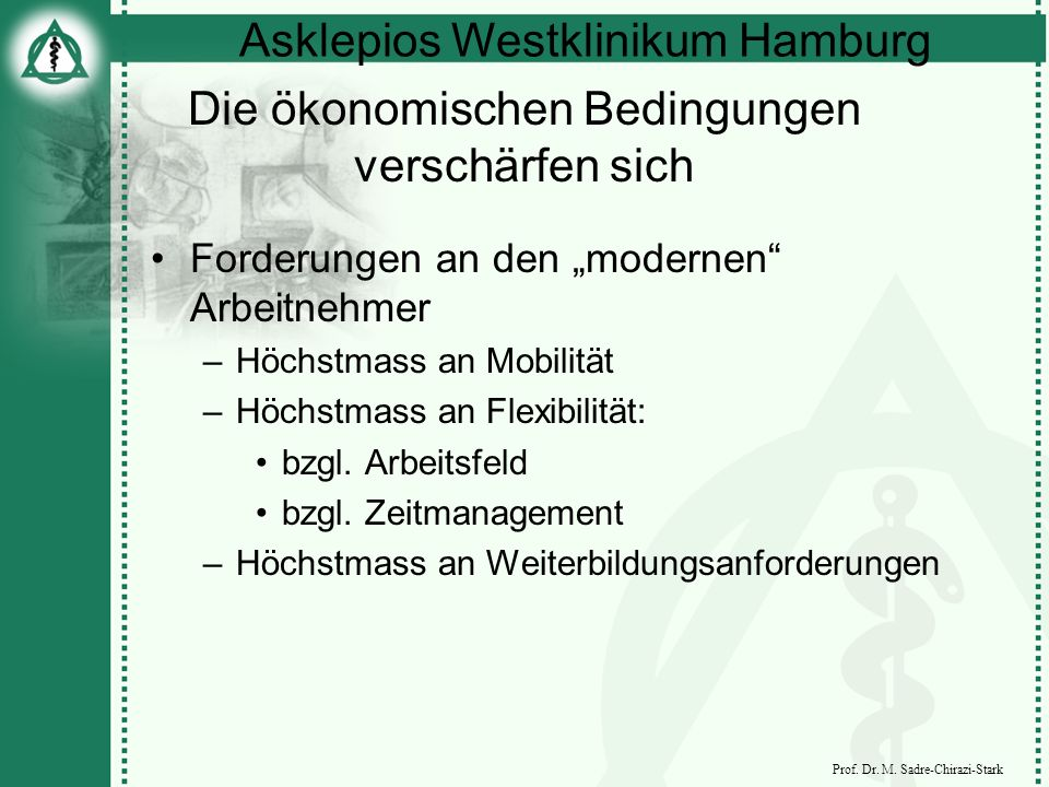 Asklepios Westklinikum Hamburg Prof. Dr. M. Sadre-Chirazi-Stark Die ökonomischen Bedingungen verschärfen sich Forderungen an den modernen Arbeitnehmer