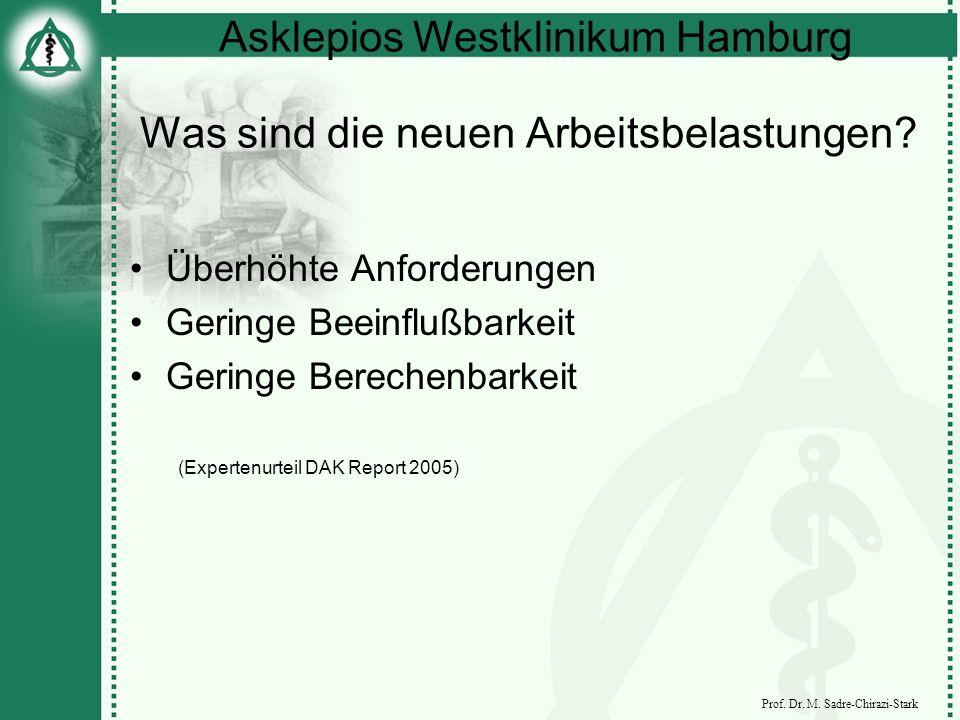 Asklepios Westklinikum Hamburg Prof. Dr. M. Sadre-Chirazi-Stark Was sind die neuen Arbeitsbelastungen? Überhöhte Anforderungen Geringe Beeinflußbarkei