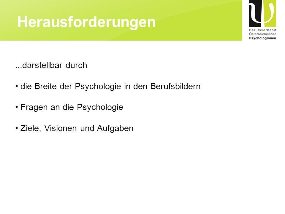 ...darstellbar durch die Breite der Psychologie in den Berufsbildern Fragen an die Psychologie Ziele, Visionen und Aufgaben Herausforderungen