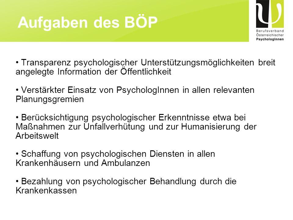 Transparenz psychologischer Unterstützungsmöglichkeiten breit angelegte Information der Öffentlichkeit Verstärkter Einsatz von PsychologInnen in allen