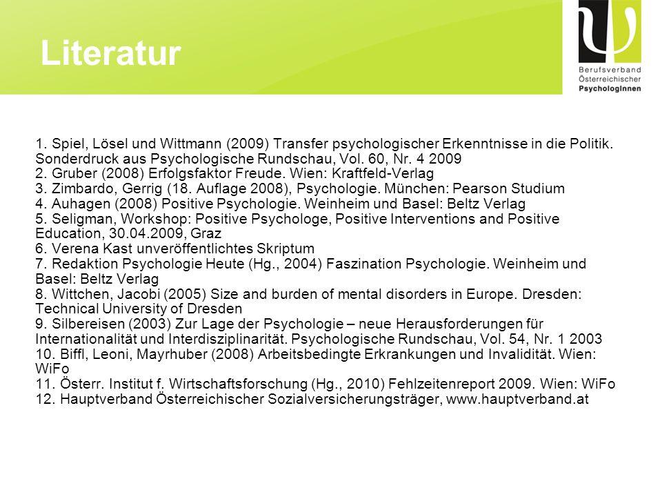 1. Spiel, Lösel und Wittmann (2009) Transfer psychologischer Erkenntnisse in die Politik. Sonderdruck aus Psychologische Rundschau, Vol. 60, Nr. 4 200