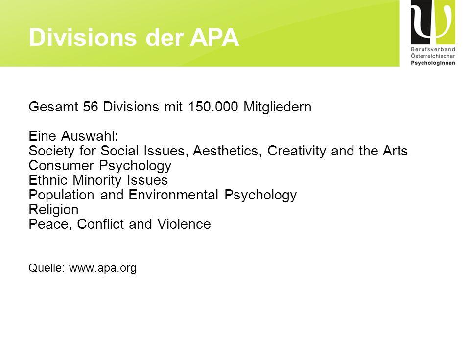 Etablierung der Psychologie als gesamtgesellschaftliche Leistung im Sinne der psychischen Gesundheit, Gesundheitsförderung, Krankenbehandlung und eines ganzheitlichen Menschenverständnisses.