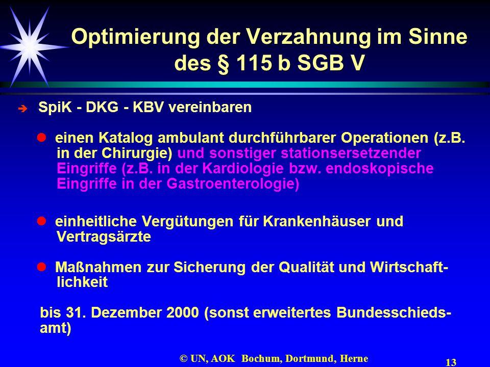 13 © UN, AOK Bochum, Dortmund, Herne Optimierung der Verzahnung im Sinne des § 115 b SGB V SpiK - DKG - KBV vereinbaren einen Katalog ambulant durchfü