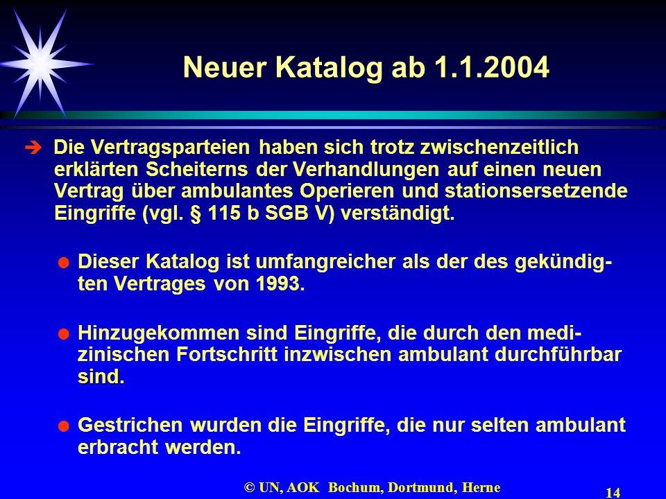 14 © UN, AOK Bochum, Dortmund, Herne Neuer Katalog ab 1.1.2004 Die Vertragsparteien haben sich trotz zwischenzeitlich erklärten Scheiterns der Verhand