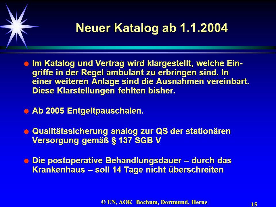 15 © UN, AOK Bochum, Dortmund, Herne Neuer Katalog ab 1.1.2004 Im Katalog und Vertrag wird klargestellt, welche Ein- griffe in der Regel ambulant zu e