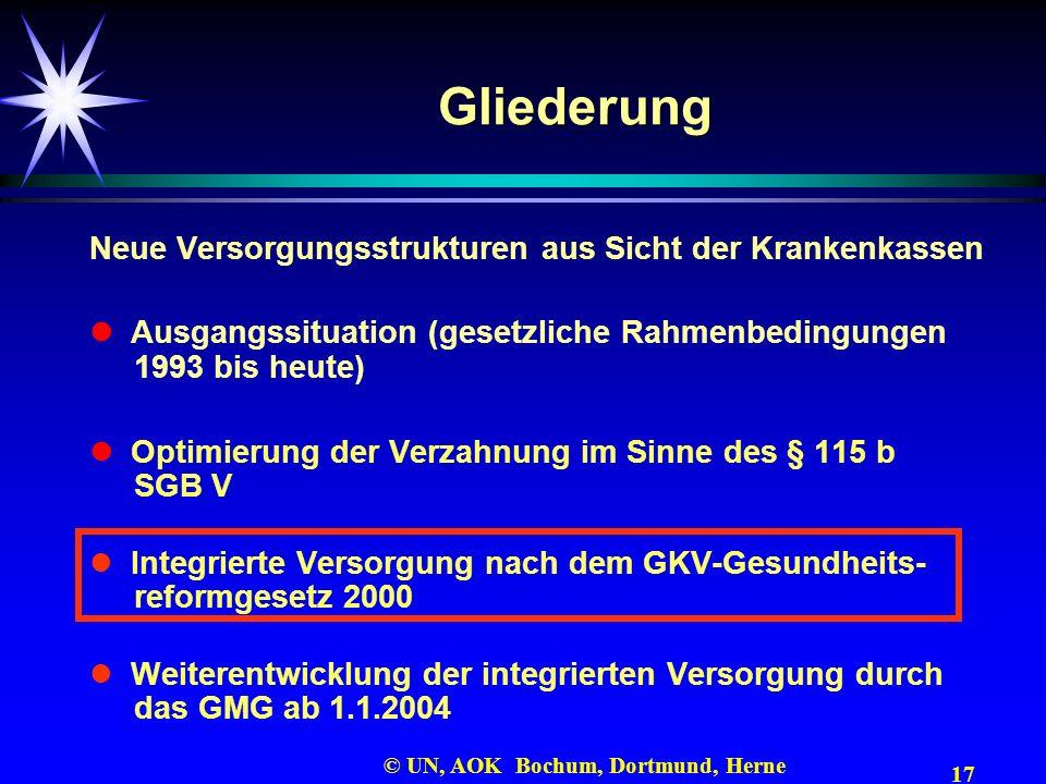 17 © UN, AOK Bochum, Dortmund, Herne Gliederung Neue Versorgungsstrukturen aus Sicht der Krankenkassen Ausgangssituation (gesetzliche Rahmenbedingunge