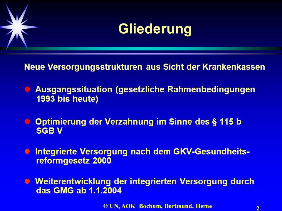 2 © UN, AOK Bochum, Dortmund, Herne Gliederung Neue Versorgungsstrukturen aus Sicht der Krankenkassen Ausgangssituation (gesetzliche Rahmenbedingungen