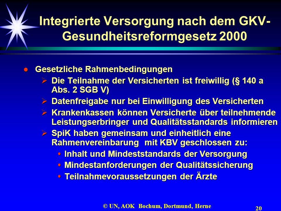 20 © UN, AOK Bochum, Dortmund, Herne Integrierte Versorgung nach dem GKV- Gesundheitsreformgesetz 2000 l Gesetzliche Rahmenbedingungen Die Teilnahme d