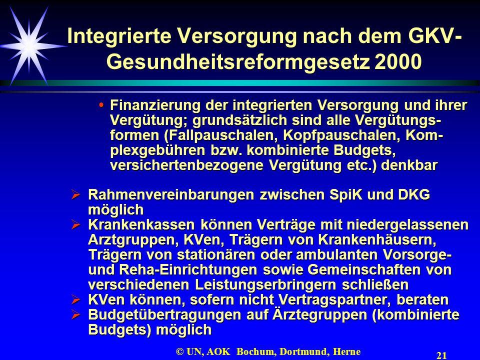 21 © UN, AOK Bochum, Dortmund, Herne Integrierte Versorgung nach dem GKV- Gesundheitsreformgesetz 2000 Finanzierung der integrierten Versorgung und ih