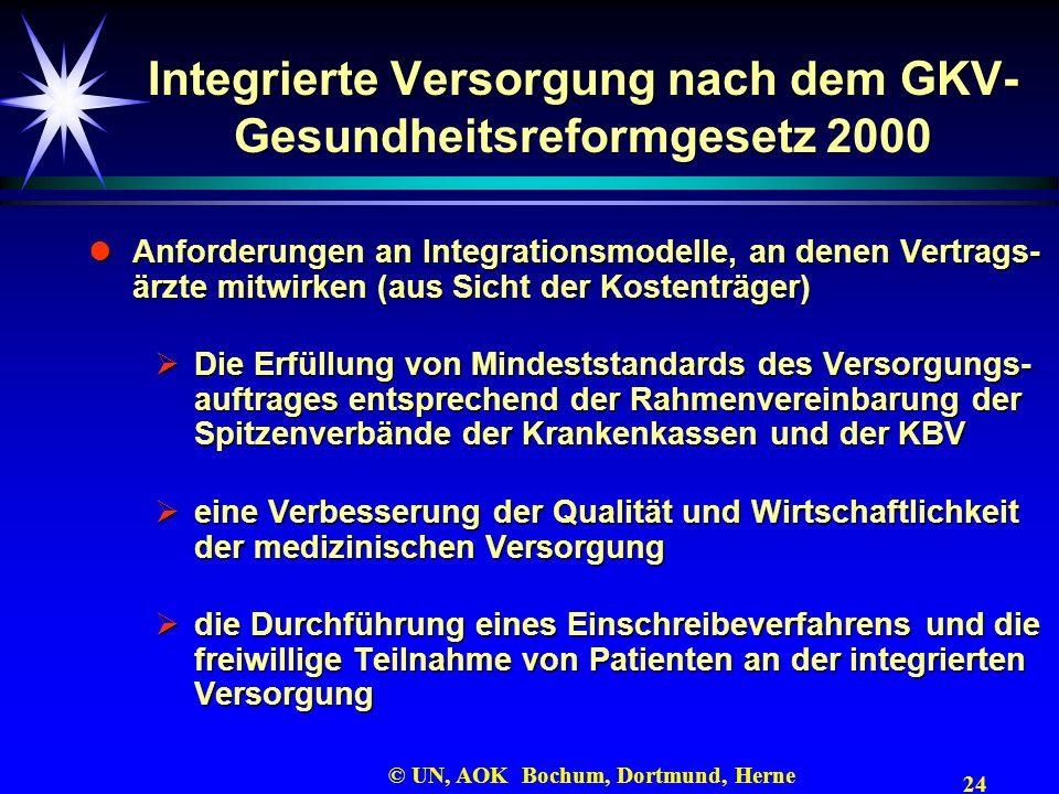 24 © UN, AOK Bochum, Dortmund, Herne Integrierte Versorgung nach dem GKV- Gesundheitsreformgesetz 2000 Anforderungen an Integrationsmodelle, an denen