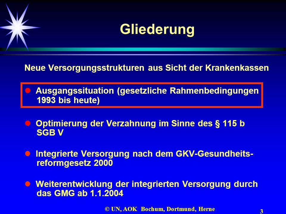 3 © UN, AOK Bochum, Dortmund, Herne Gliederung Neue Versorgungsstrukturen aus Sicht der Krankenkassen Ausgangssituation (gesetzliche Rahmenbedingungen