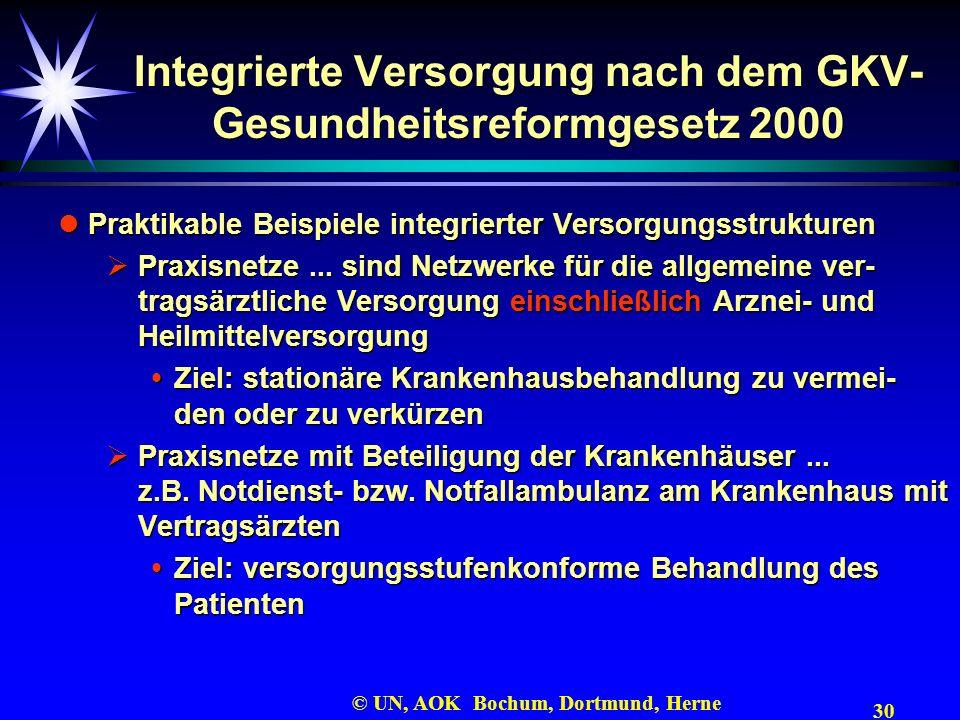 30 © UN, AOK Bochum, Dortmund, Herne Integrierte Versorgung nach dem GKV- Gesundheitsreformgesetz 2000 Praktikable Beispiele integrierter Versorgungss