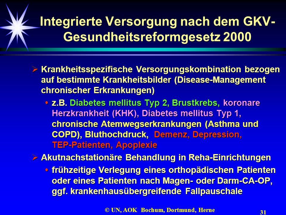 31 © UN, AOK Bochum, Dortmund, Herne Integrierte Versorgung nach dem GKV- Gesundheitsreformgesetz 2000 Krankheitsspezifische Versorgungskombination be