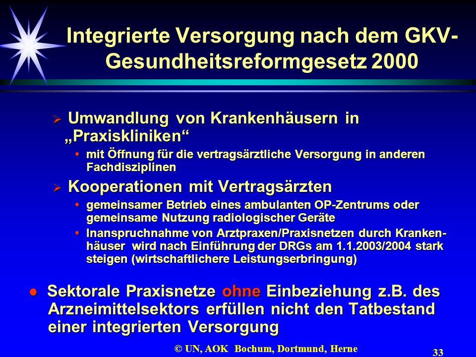 33 © UN, AOK Bochum, Dortmund, Herne Integrierte Versorgung nach dem GKV- Gesundheitsreformgesetz 2000 Umwandlung von Krankenhäusern in Praxiskliniken