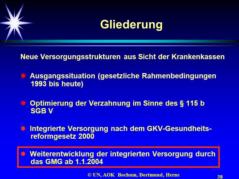 38 © UN, AOK Bochum, Dortmund, Herne Gliederung Neue Versorgungsstrukturen aus Sicht der Krankenkassen Ausgangssituation (gesetzliche Rahmenbedingunge