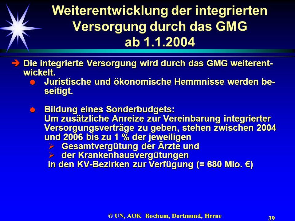 39 © UN, AOK Bochum, Dortmund, Herne Weiterentwicklung der integrierten Versorgung durch das GMG ab 1.1.2004 Die integrierte Versorgung wird durch das
