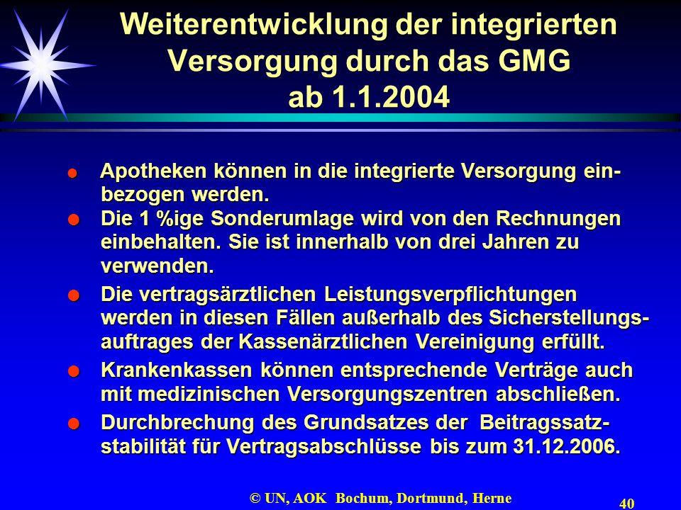40 © UN, AOK Bochum, Dortmund, Herne Weiterentwicklung der integrierten Versorgung durch das GMG ab 1.1.2004 Apotheken können in die integrierte Verso