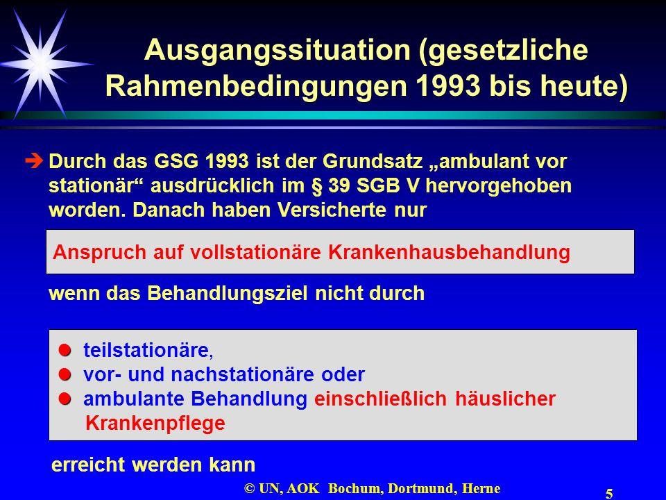 5 © UN, AOK Bochum, Dortmund, Herne Ausgangssituation (gesetzliche Rahmenbedingungen 1993 bis heute) Durch das GSG 1993 ist der Grundsatz ambulant vor