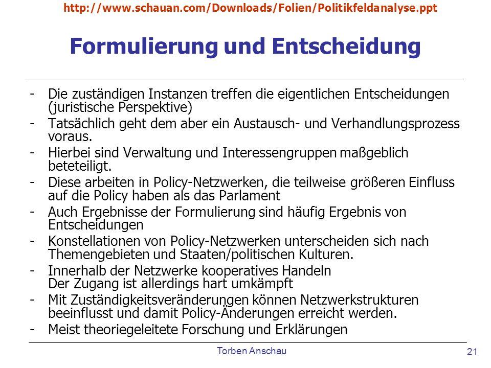 Torben Anschau http://www.schauan.com/Downloads/Folien/Politikfeldanalyse.ppt 21 Formulierung und Entscheidung -Die zuständigen Instanzen treffen die