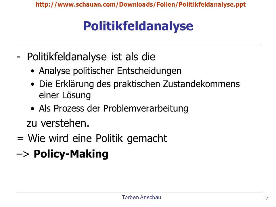 Torben Anschau http://www.schauan.com/Downloads/Folien/Politikfeldanalyse.ppt 7 Politikfeldanalyse -Politikfeldanalyse ist als die Analyse politischer