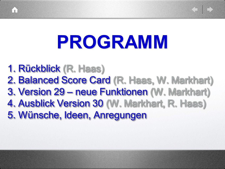 1. Rückblick (R. Haas) 2. Balanced Score Card (R. Haas, W. Markhart) 3. Version 29 – neue Funktionen (W. Markhart) 4. Ausblick Version 30 (W. Markhart