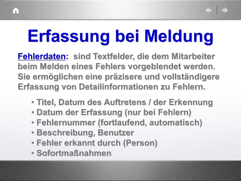 Erfassung bei Meldung Fehlerdaten: sind Textfelder, die dem Mitarbeiter Fehlerdaten: sind Textfelder, die dem Mitarbeiter beim Melden eines Fehlers vo