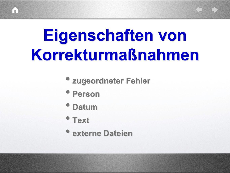 zugeordneter Fehler zugeordneter Fehler Person Person Datum Datum Text Text externe Dateien externe Dateien Eigenschaften von Korrekturmaßnahmen